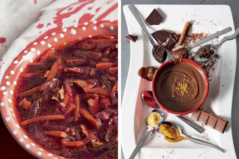 Иллюстрации к рецептам из книги: слева «Пламенный борщ», справа «Классный шоколадный мусс»