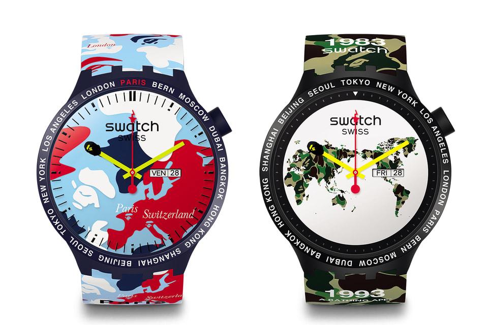 Часы из лимитированной коллекции Swatch х Bape: модели Big Bold Bape Paris edition и Big Bold Bape The World