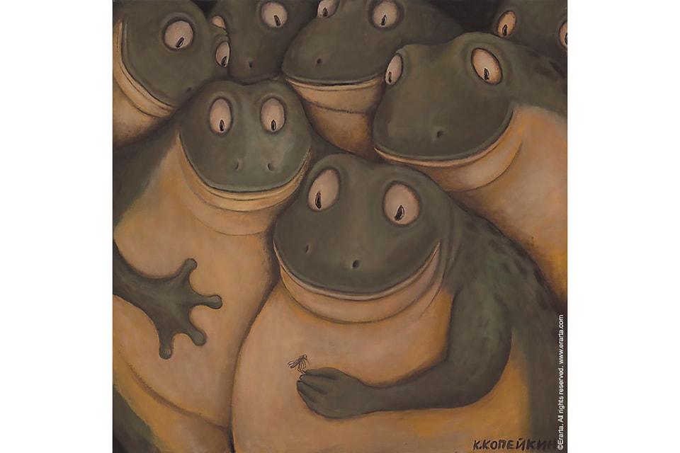 Репродукция картины «Жабий суд» Николая Копейкина, принт, холст