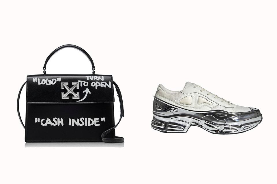 Главные объекты желаний покупателей, согласно исследованию Lyst: сумка Off-White Jitney Bag и кроссовки Adidas x Raf Simons Ozweego Metallic Silver