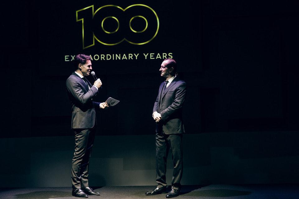 К. Шлик и К. Хабенский на торжествах в Москве по случаю 100-летия марки