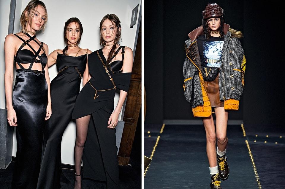На моделях Кэндис Свейнпол, Ирине Шейк и Джиджи Хадид новые вариации платьев с ремнями, созданными еще Джанни Версаче, коллекция осень-зима 2019/20 (слева)Одежда и аксессуары из коллекции Versace  осень-зима 2019/20 (справа)