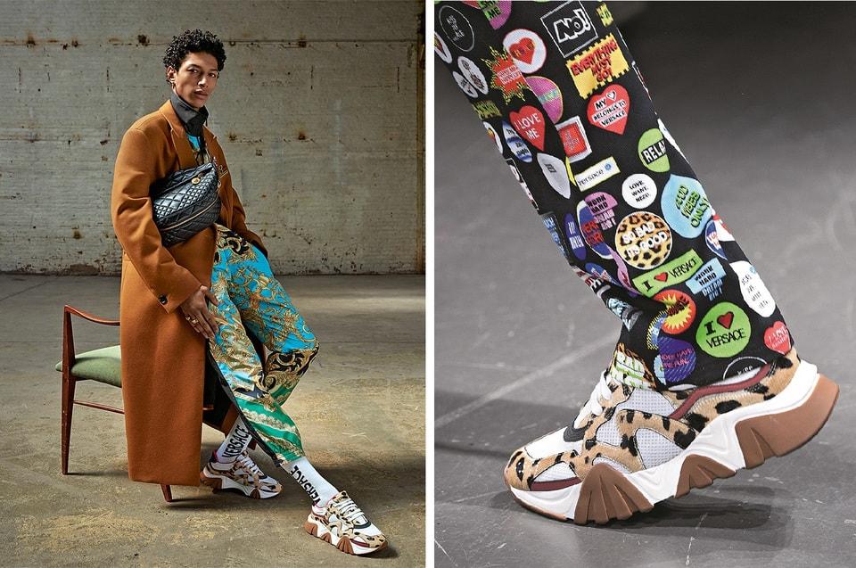 Рекламная кампания бренда, осень-зима 2019/20, фотограф Стивен Мейзел (слева) Одежда и аксессуары из коллекции Versace  осень-зима 2019/20 (справа)