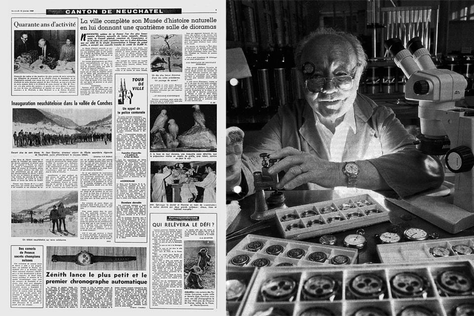 Часовщик Шарль Вермон, спасший производство Zenith (справа) и новость о революционном калибре в газете Невшателя 1969 года (слева)