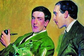 «Портрет Петра Капицы и Николая Семенова» работы Б. М. Кустодиева, 1921 г.
