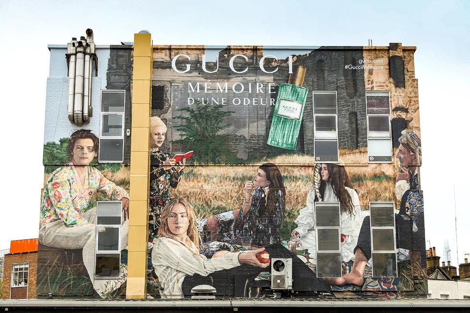 Дом Gucci по случаю запуска аромата Gucci Memoire d'une Odeur расписал стены домов в нескольких городах мира