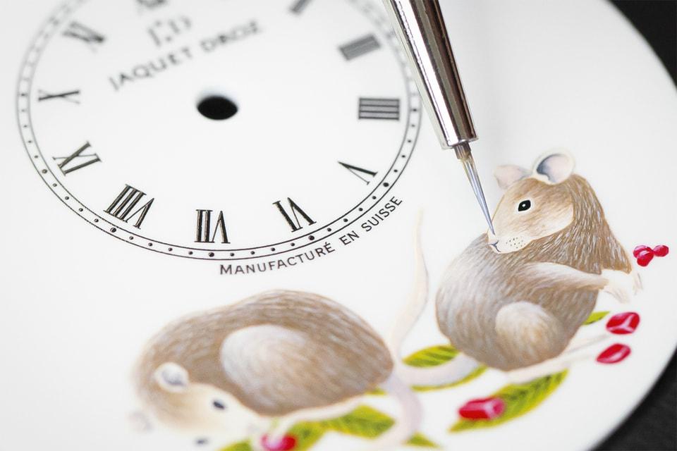 Фрагмент эмалевой росписи циферблата часов Jaquet Droz Petite Heure Minute Rat