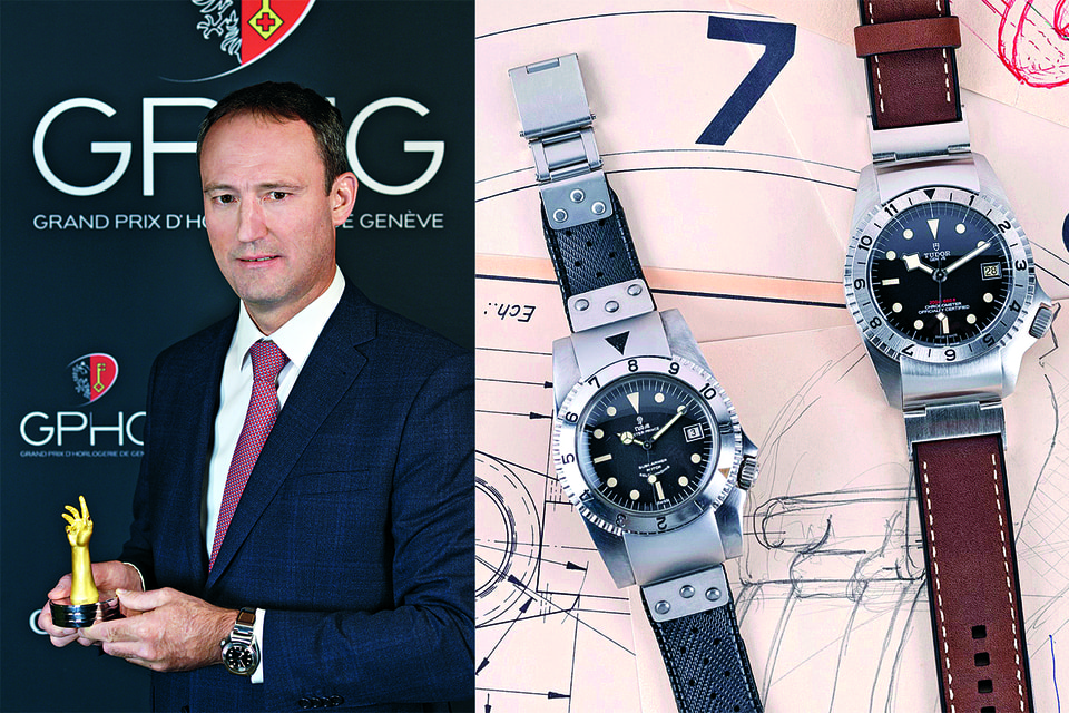 Модель Tudor Black Bay P01, признанная лучшей в номинации «Вызов» GPHG-2019 (справа), и нынешний глава бренда Эрик Присон c призом (слева)