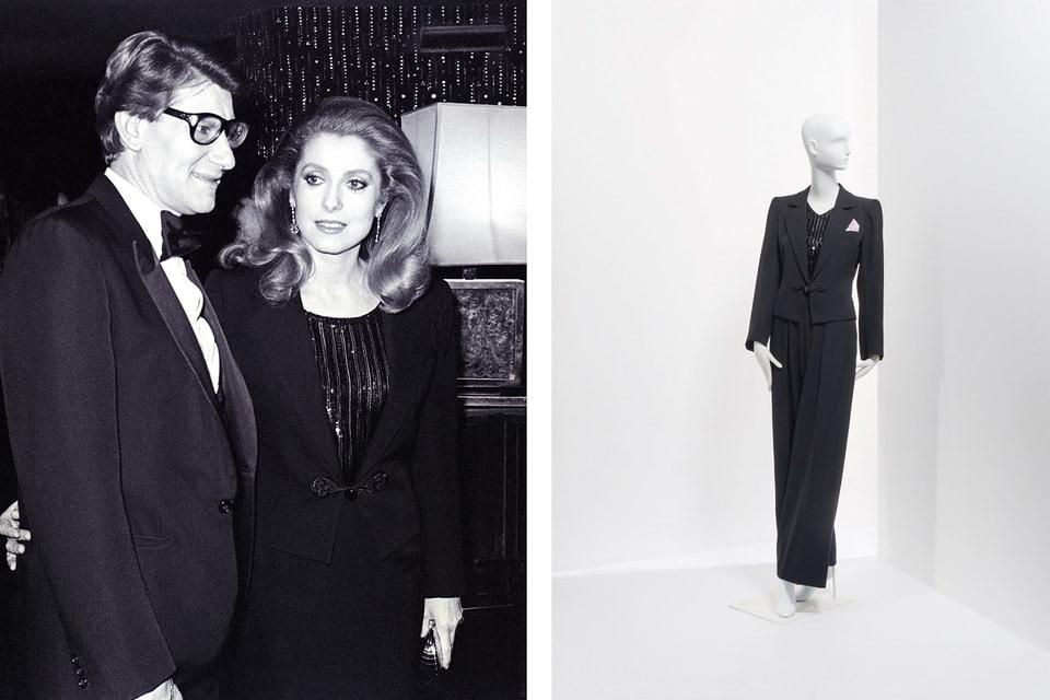 Ив Сен Лоран и Катрин Денев на приеме в честь 20-летия Дома Yves Saint Laurent в 1982 году. Черный шерстяной смокинг был создан для актрисы специально по случаю юбилея модного Дома. (Оценка: €1 000 – 1 500)