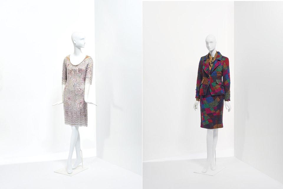 Вечернее платье, украшенное стеклярусом из весенне-летней коллекции haute couture 1969 (оценка €3 000 – 5 000); твидовый костюм «Арлекин» из осенне-зимней коллекции haute couture 1992/93 (оценка: €400 – 600)