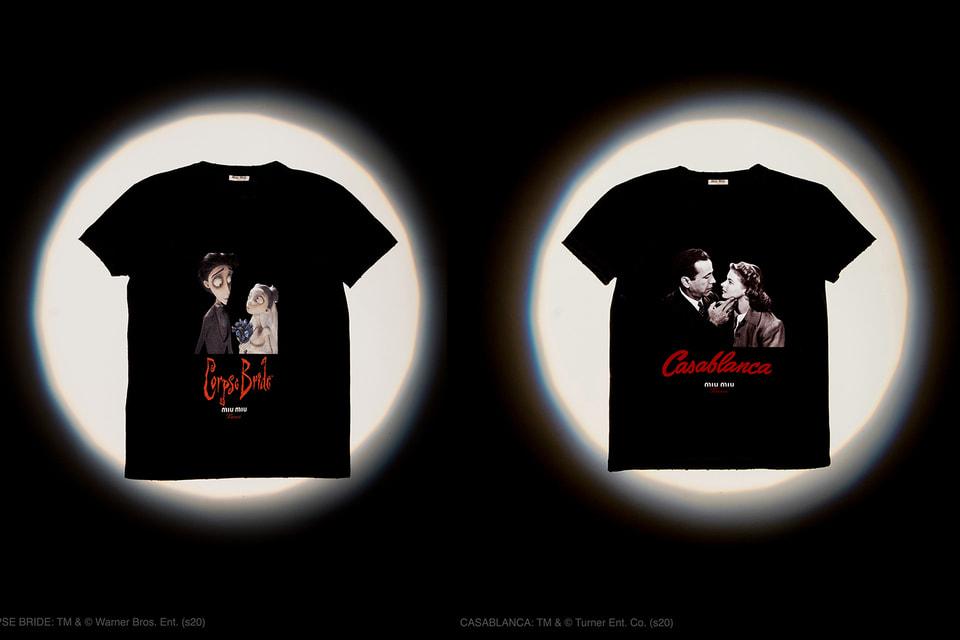 Кадры из мультфильма «Труп невесты» Тима Бертона и из фильма «Касабланка» – на новых футболках Miu Miu