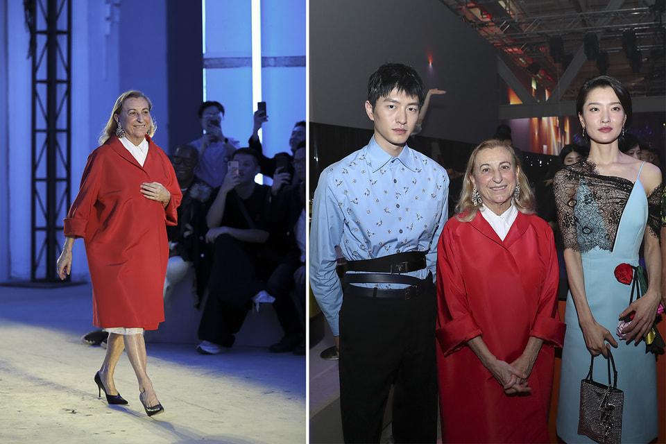 Дизайнер-новатор Миучча Прада на «поклоне» после показа мужской коллекции и с китайскими знаменитостями из числа клиентов бренда