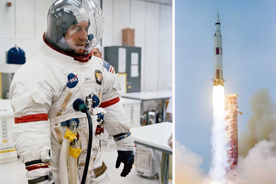 Командир экипажа Apollo 13 Джеймс А. Ловелл; момент запуска корабля на Луну с мыса Канаверал