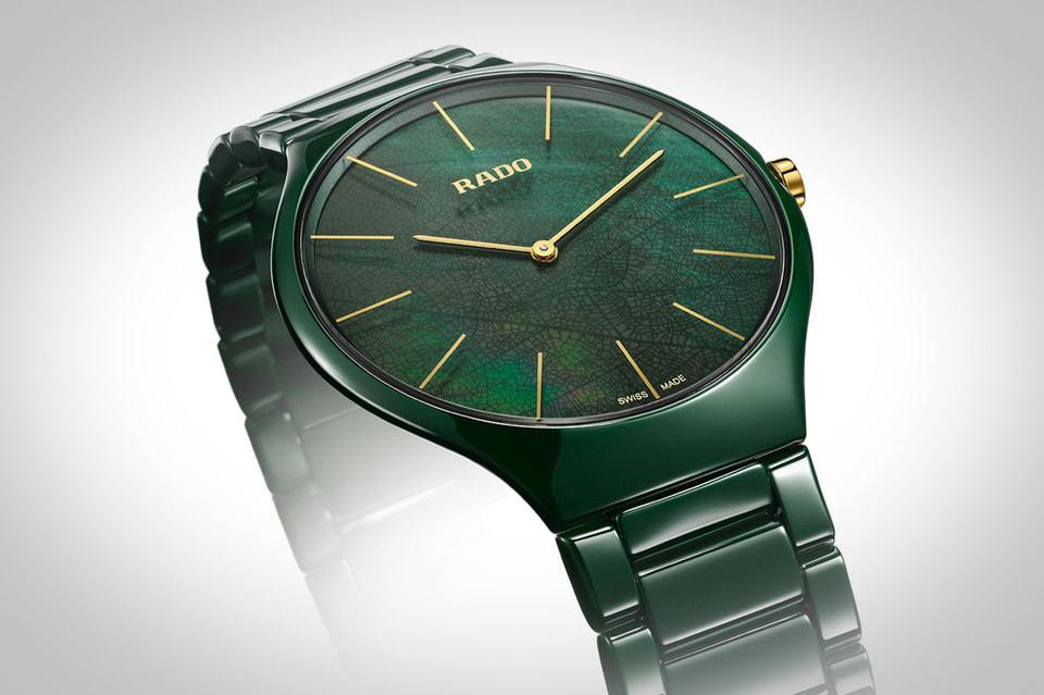 Циферблат часов True Thinline Leaf убедительно имитирует тончайший узор зеленого листка