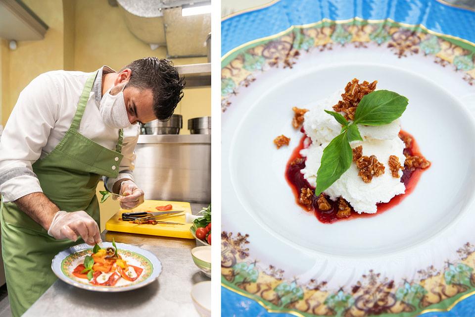 Шеф-повар Bosco Cafe Давиде Корсо. Справа: новинка меню – йогуртовый мусс с базиликом и миндальной карамелью
