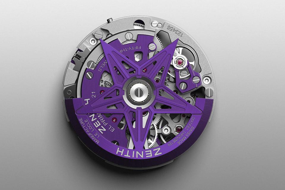 Эстетика механизма фиолетового цвета подчеркивается авангардным дизайном Defy 21 с ажурными англированными мостами