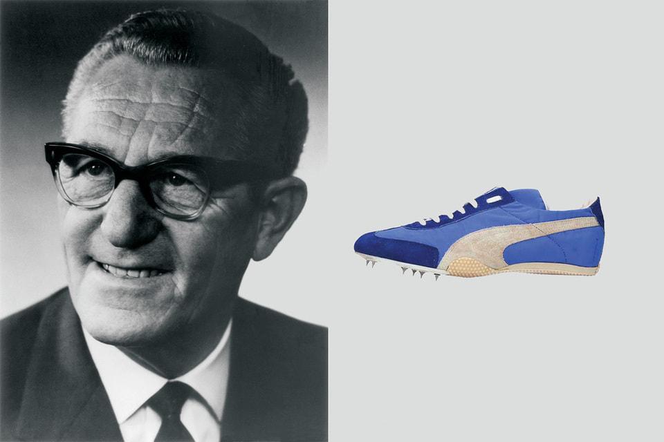 Рудольф Дасслер – основатель компании Puma. Справа – кроссовки 1976 года, модель Mirage
