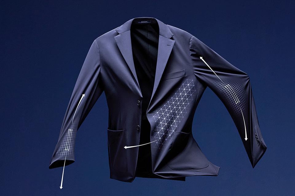 Пиджак и брюки B-tech сшиты из ткани Reda active, которая поглощает влагу, обладает антибактериальными свойствами