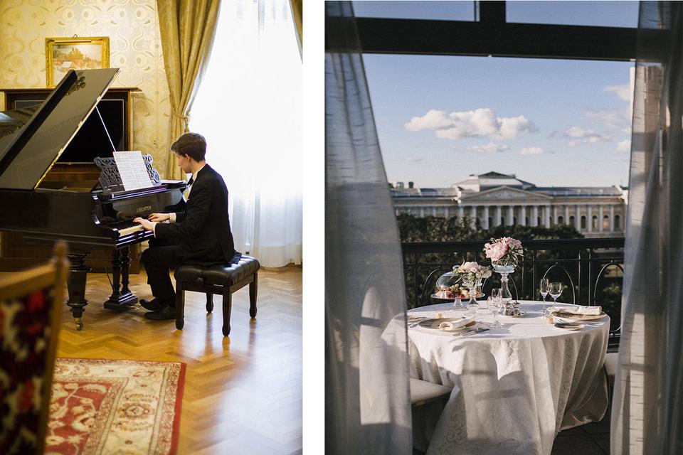 Слева: камерный концерт прямо в номере отеля; справа: ужин на панорамной террасе