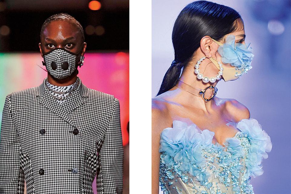 Слева направо: маска в тон к пальто, Marine Serre, осень-зима 2020/21; романтический образ с маской, The Blonds, осень-зима 2020/21