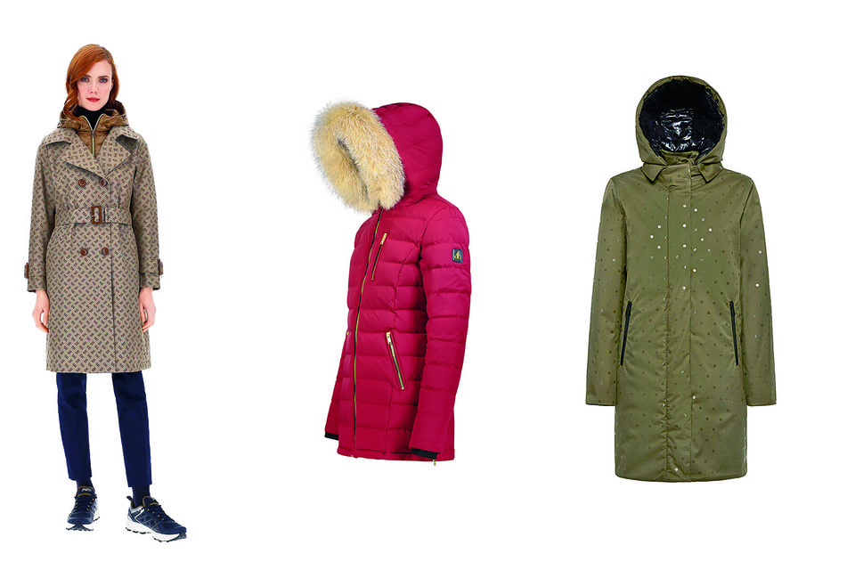 Слева направо: образ из лукбука Herno, осень-зима 2020/21; утепленная куртка Moose Knuckles, осень-зима 2020/21; в пальто Geox использована запатентованная технология Amphibiox