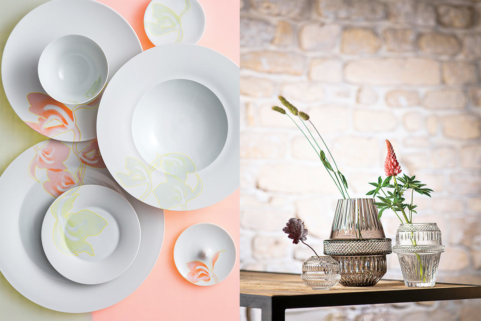 Слева направо: предметыиз сервизов Hering Berlin «Палмхаус Икс», хрустальные вазы St.Louis