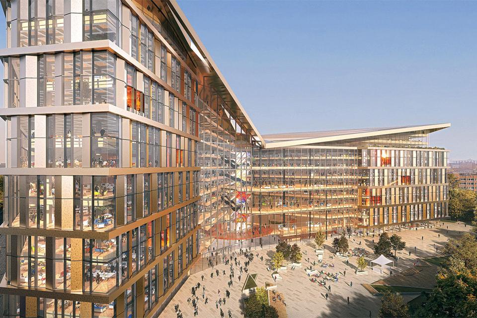 Фасады здания выполнены в стекле и металле