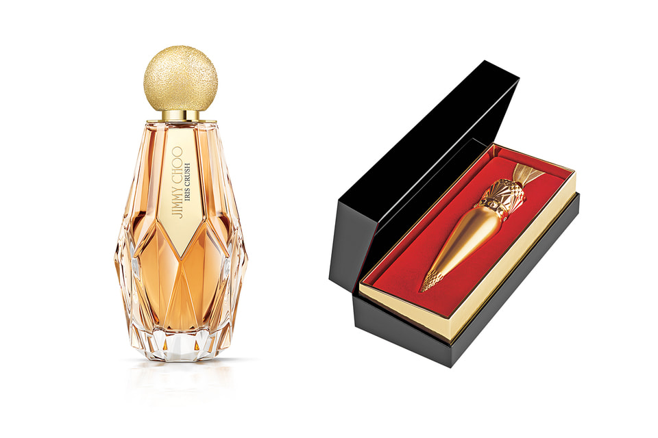 Слева направо: аромат Jimmy Choo Iris Crush; помада Christian Louboutin Beauty
