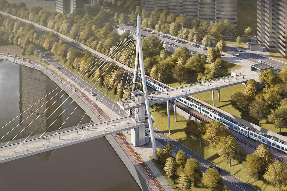 Визуализация проекта реконструкции участка набережной между Белорусским и Дорогомиловским мостами