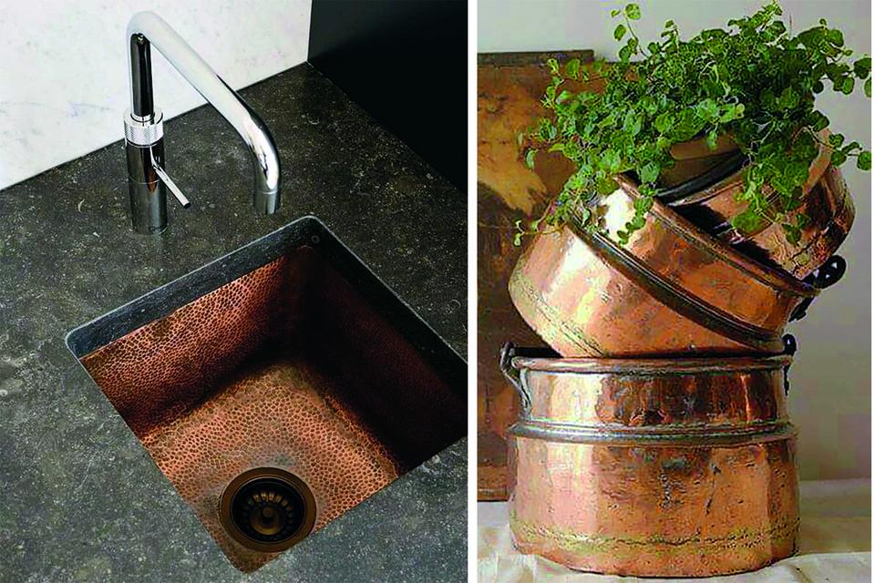 Денис Аксенов создает из меди новые формы колонн, обрамления камина, кухонные раковины и фартуки
