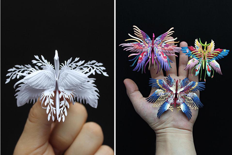Благодаря яркой цветовой гамме и нетипичным для оригами узорам Кристиан Марьянчук придает древнему искусству собственное, современное воплощение