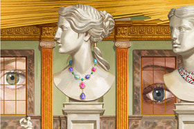 Художник Игнаси Монреаль создал иллюстрации на тему коллекции Bvlgari Barocko с ассоциациями на тему классического и барочного Рима