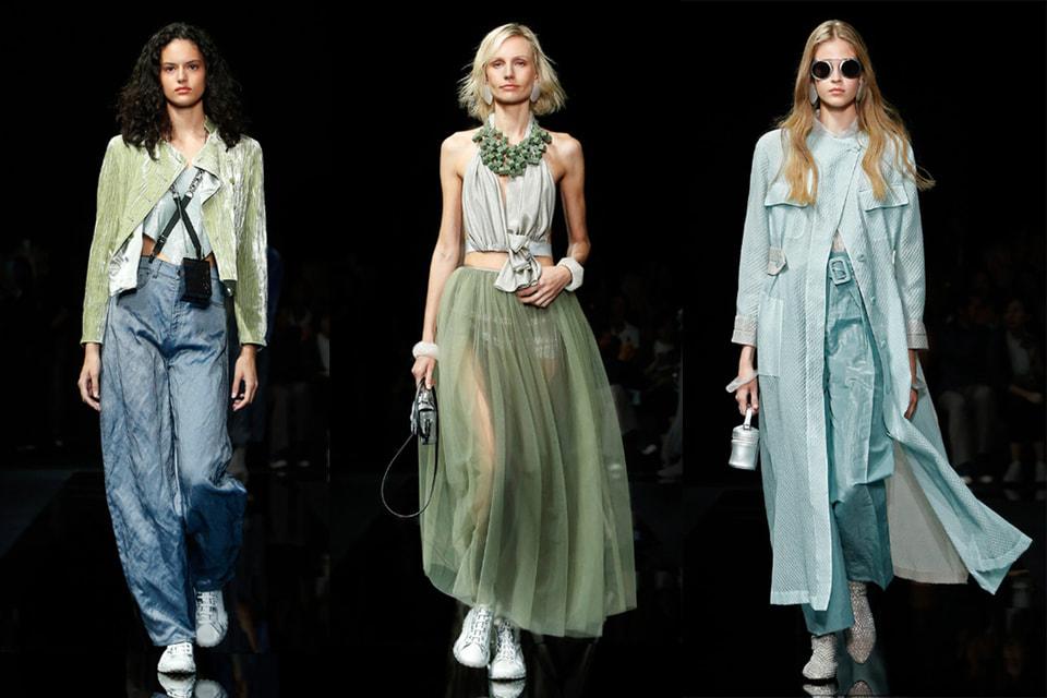 Оттенки голубого и зеленого в коллекции Giorgio Armani весна-лето 2021