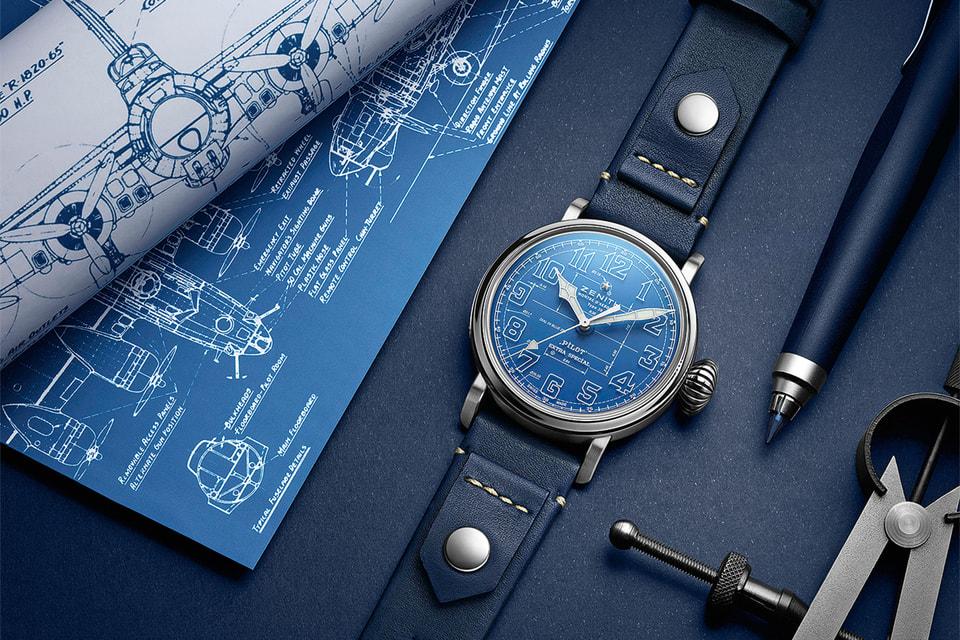 На циферблате Pilot Type 20 Blueprint изображено подобие чертежа аэроплана начала XX столетия