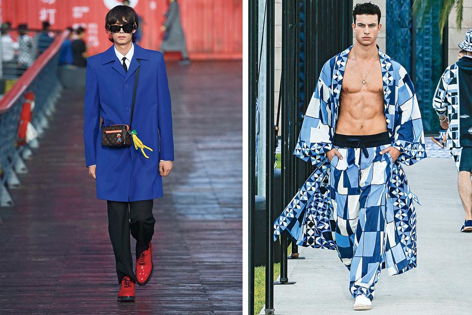 Весна-лето 2021: глубокие цвета и острые плечи в исполнении Louis Vuitton; графичные принты в мужской коллекции Dolce & Gabbana