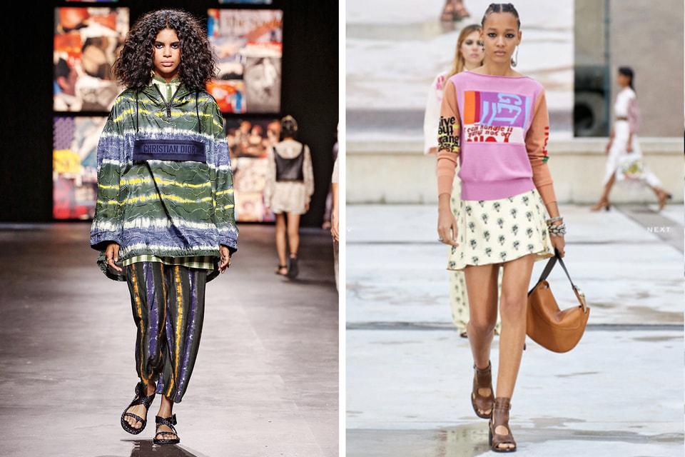 Весна-лето 2021: полоска с оптическим эффектом у Dior; колор-блокинг в модели CHLOE
