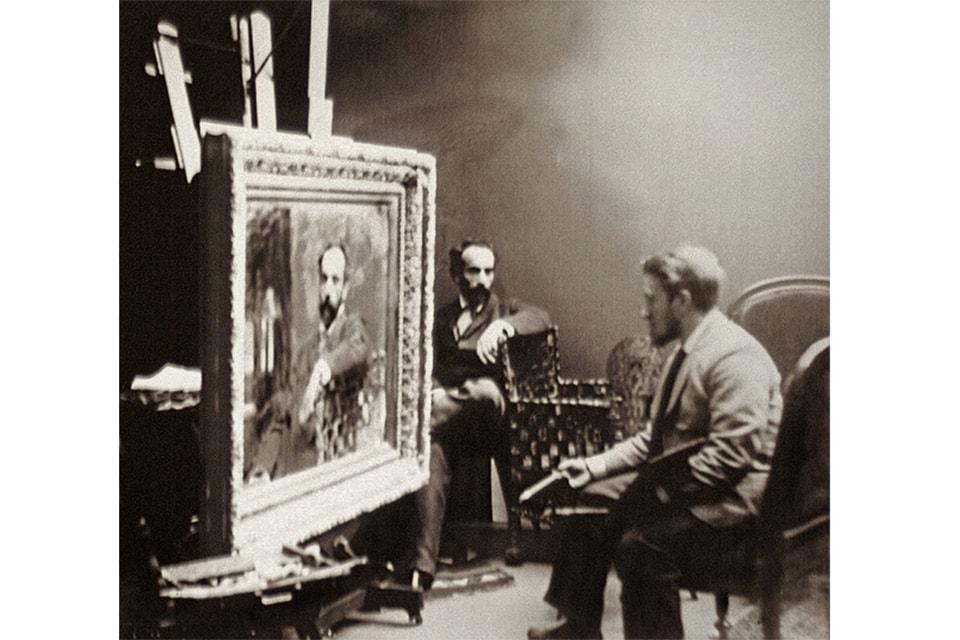 И. И. Левитан позирует Валентину Серову для своего портрета. 1893 г.