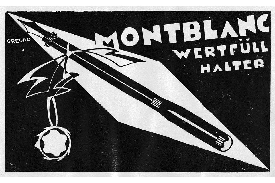 Один из рекламных плакатов Montblanc 1920-х годов, эстетика которого послужила вдохновением для создания нового принта с буквой «М»