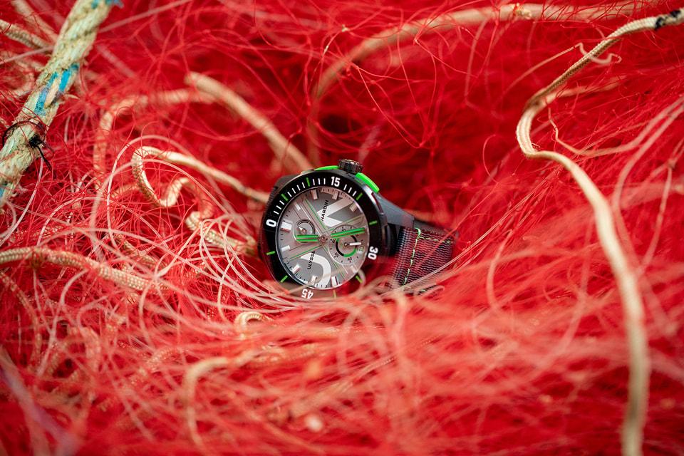 Отделку корпуса и задней крышки часов Diver Net доверили Fil & Fab, первой во Франции компании по переработке рыболовных сетей в полиамид