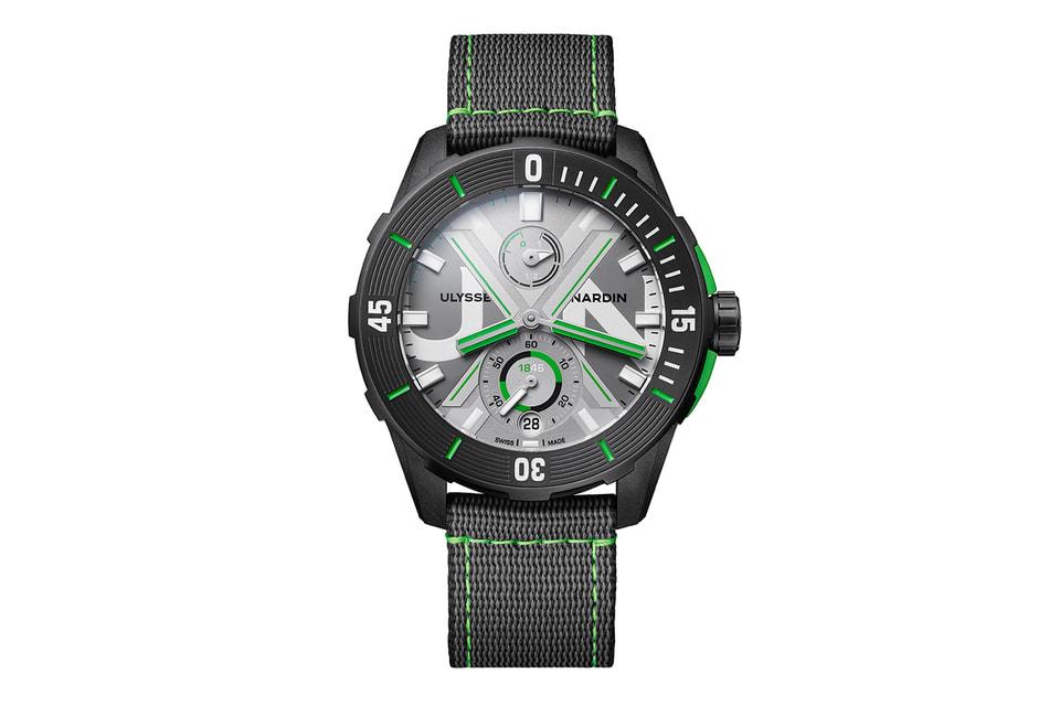 Ярко-зеленые акценты в дизайне нескольких элементов часов Ulysse Nardin Diver Net, символизирующие чистую природу