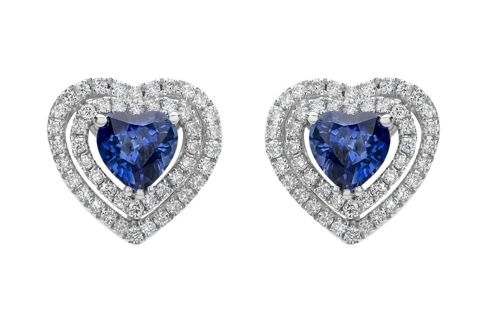Серьги-пуссеты Mercury с синими сапфирами огранки «сердце» и бриллиантовой оправой в форме символа любви