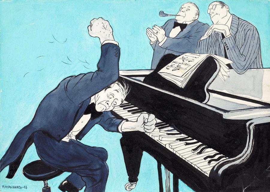 Пианист. В музыке как в политике (Крокодил). 1948 г.