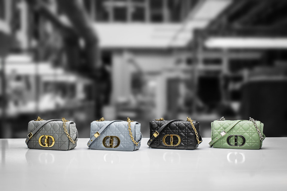 Цветовая палитра из постоянной коллекции сумок Dior Caro – серый, голубой, черный и салатовый с фурнитурой золотого или серебряного цвета