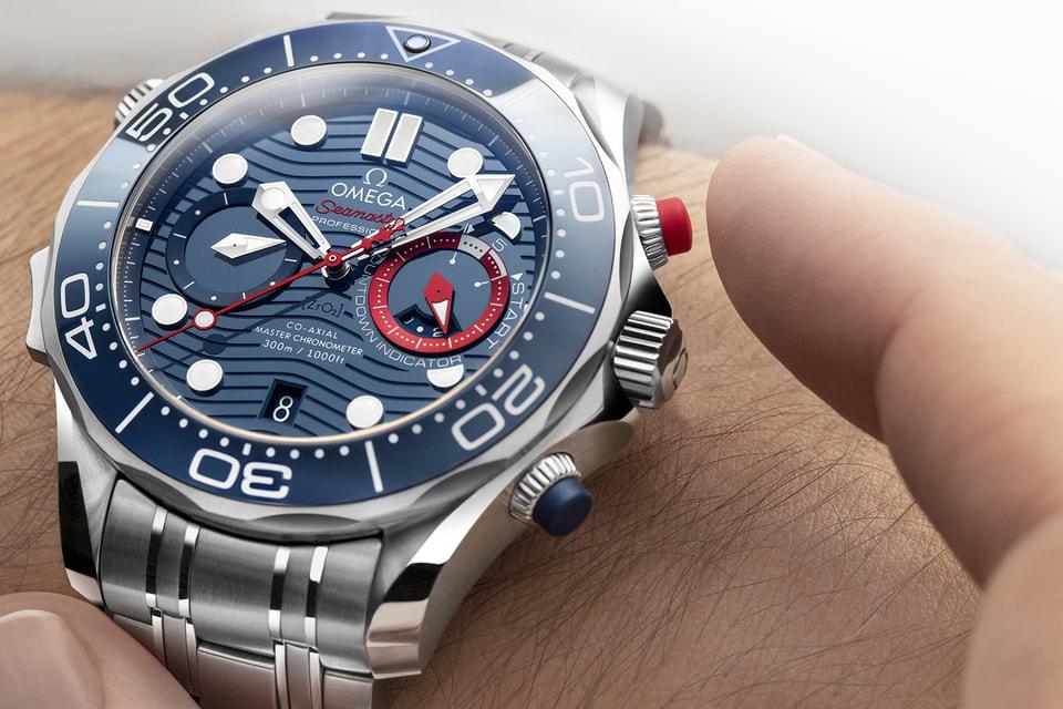 Чтобы облегчить управление хронографом Omega Seamaster Diver 300M America's Cup Chronograph во влажной среде, дизайнеры предусмотрели мягкие резиновые кнопки