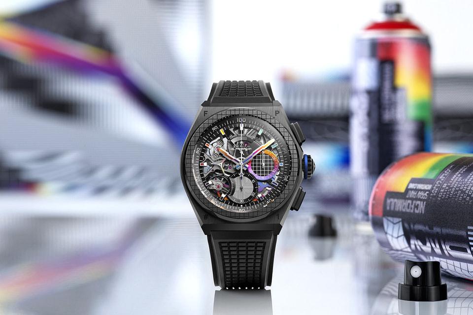 В дизайне часов Defy 21 Felipe Pantone выделяются мосты механизма с особым покрытием, отражающим градиентные оттенки металла всеми цветами радуги