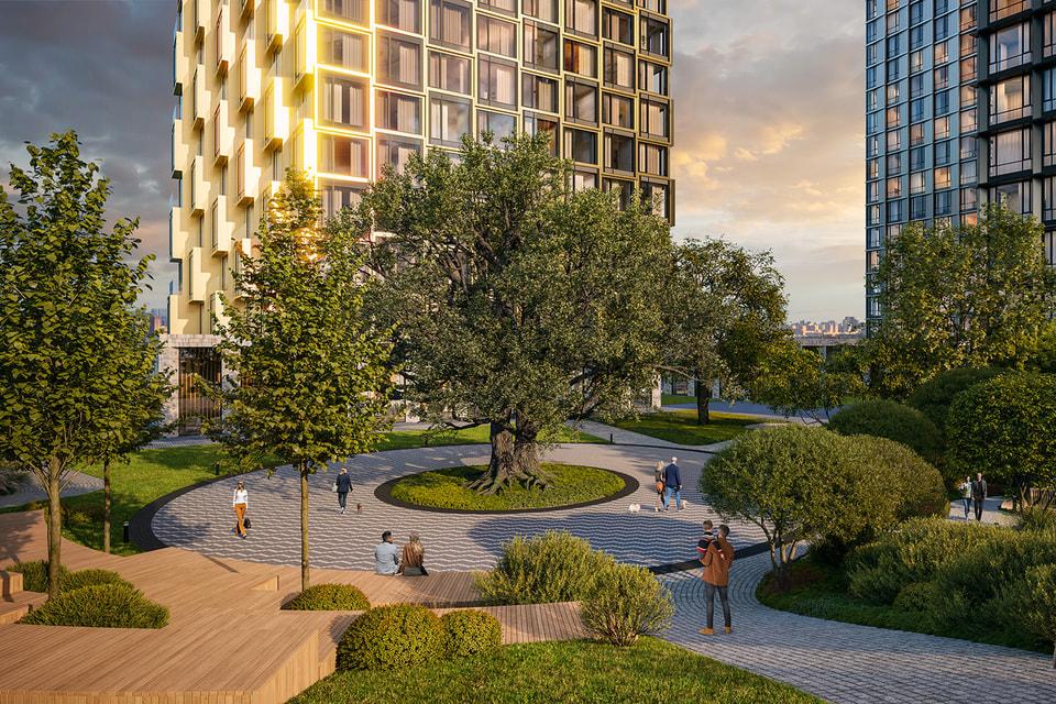 На территории комплекса будет разбит английский парк с природным амфитеатром