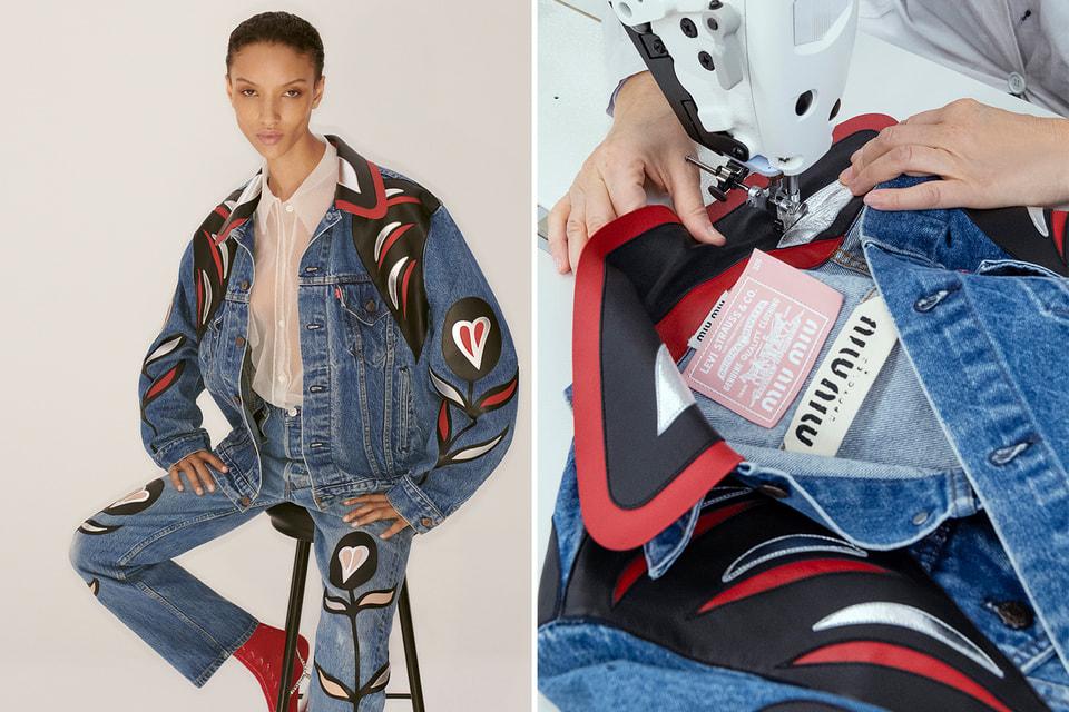 С помощью техники аппликации из кожи мастера преобразили куртки Trucker jackets и мужские джинсы Made in USA 501