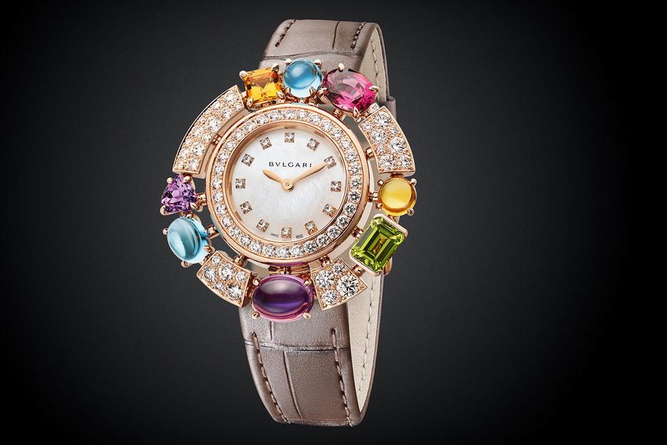 Коктейльные часы Allegra с мозаикой из драгоценных камней на золотом корпусе