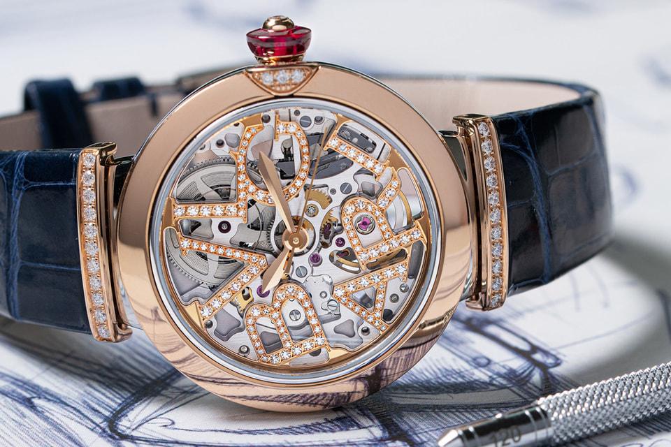 Часы Lvcea с циферблатом-скелетоном, орнамент которого воспроизводит литеры Bvlgari