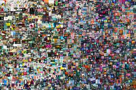 Коллаж из 5000 цифровых изображений в жанре политической сатиры дизайнера Beeple, проданный на аукционе Christie's за $69,3 млн